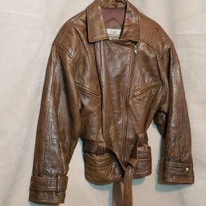 Albert Duke Heavy Vintage Brown Leather Jkt Sz S